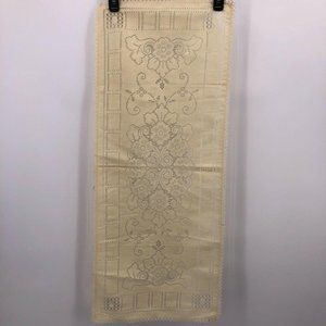 """Ivory Lace Table Runner 35"""" x 14"""" Floral Design"""